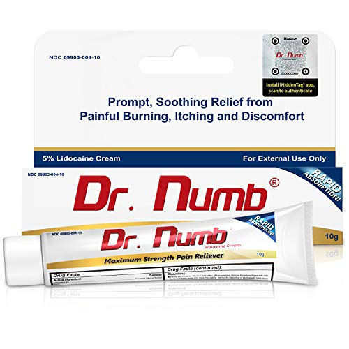 1 Tube of Dr. Numb Maximum Topical Anesthetic Anorectal Cream, Lidocaine 5% | Pain Relief Cream for Tattoo, Piercing, Microneedling, Microblading, Waxing, Dermarolling, Hemorrhoid Treatment -10 g (1)