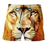 WHLDK La Tête De Lion 3D De Façon Occasionnelle Maillot Stamp Beach Pantalon Lâche Mâle Pantalon Taille Map Color L Shorts