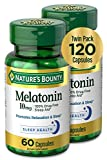Melatonin by Nature's Bounty, 100% Drug Free Sleep Aid, Dietary Supplement, Promotes Relaxation and Sleep Health, 10mg, 60 Capsules (Pack of 2)