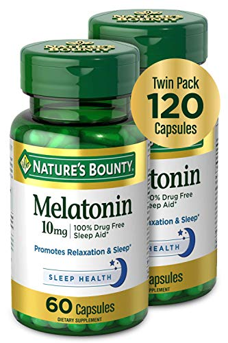 Melatonin by Nature#039s Bounty 100% Drug Free Sleep Aid Dietary Supplement Promotes Relaxation and Sleep Health 10mg 60 Capsules Pack of 2