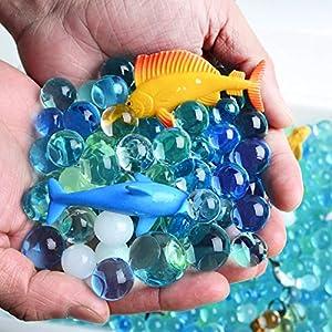AINOLWAY Figuras de Animales Marinos Animal 24 Figuras de Animales de mar Profundo realistas Juguetes educativos y Cuentas de Cristal de Color Marino