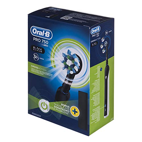 Oral-B Pro 750 Crossaction - Cepillo de Dientes Eléctrico, Color Negro y Blanco