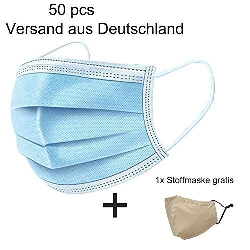 Mund-Nasen-Schutz Masken 3-Lagig aus Vlies CALIYO® Anesthesia OP Masken Schutzmasken EN14683 und 1 Stoffmaske Baumwolle gratis (50)