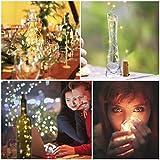10 Stück LED Flaschenlicht, 20 LEDs 2M Lichterkette Kupferdraht batteriebetriebene Weinflasche Lichter mit Kork Schnurlicht für DIY Deko Weihnachten Party Urlaub Stimmungslichter (Warmweiß) - 7