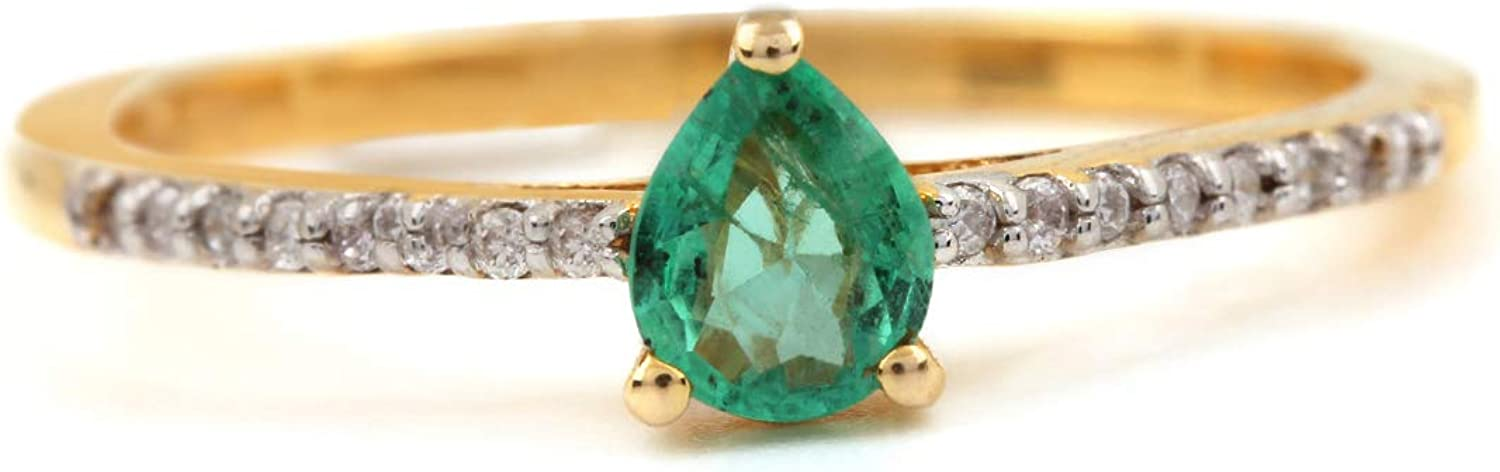 ASHNE JEWELS IGI Certified, Natural 0.27ct Emerald Gemstone Ring 0.08ct Genuine Diamond Fine Jewelry Made in 14K Solid Yellow Gold For Women and Girls