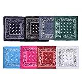 Clyhon - Paquete de 8 pañuelos de algodón multifunción de cachemira con pañuelos de vaquero, surtidos en 8 colores, (54 cm x 54 cm)