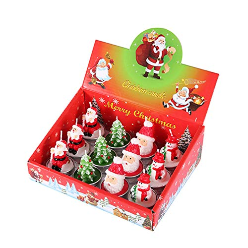 Eugeneq Christmas Candles, Santa Snowman Pine Cone House Candles for Home Party Halloween Christmas Wedding Holiday for Scene Layout of Hotel, Restaurant, Bar, Wedding, Birthday and Family Party