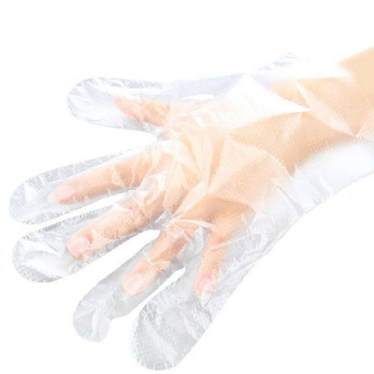蚊ルーチン失敗山の奥 使い捨て手袋 ポリエチレン使い切り手袋 極薄 調理 透明 実用 衛生 100枚入