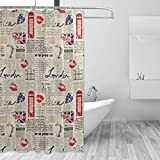 VINISATH Duschvorhang,Von der Londoner Zeitung inspirierter Hintergr& mit Grunge-Elementen Kiss Marks,wasserdichter Badvorhang mit 12 Haken Duschvorhangringen 180x180cm