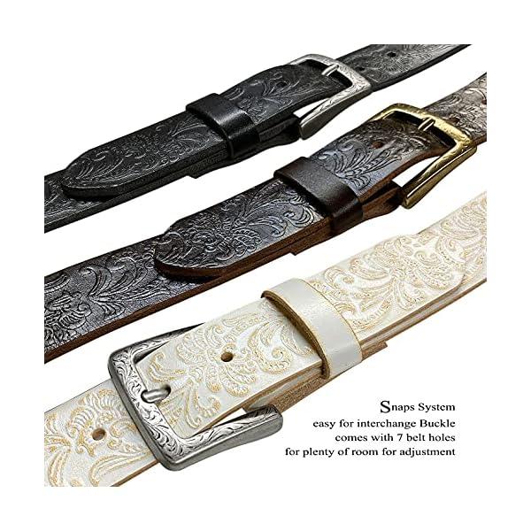 Floral Embossed Full Grain Genuine Leather Belt 4