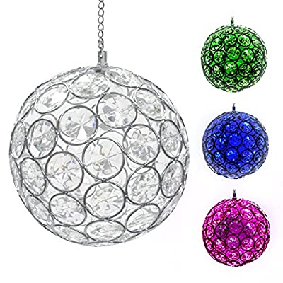 LED Concepts Solar Hanging Crystal Ball Light - Outdoor LED Gazing Ball Light with Sparkling LED Light Colors