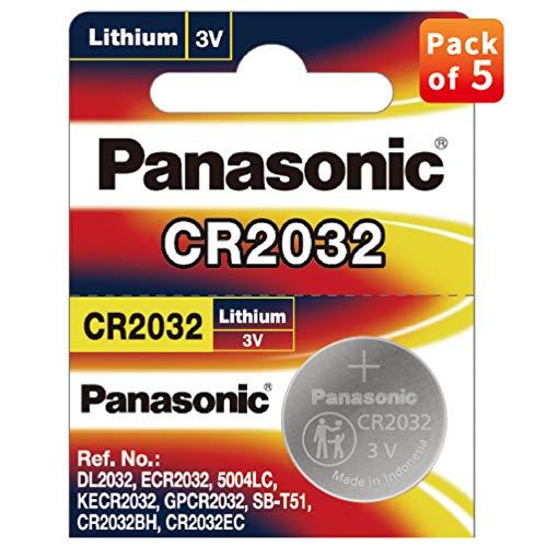 Panasonic Batteries CR2032 3 V Lithium Batterie 2 Packungen x (5 Stück) = 10 Einwegbatterien, CR2032/5BE