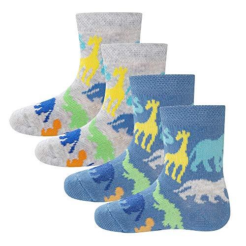 Ewers 4er Pack Zootiere Kindersocken für Jungen, MADE IN EUROPE, Socken Baumwolle