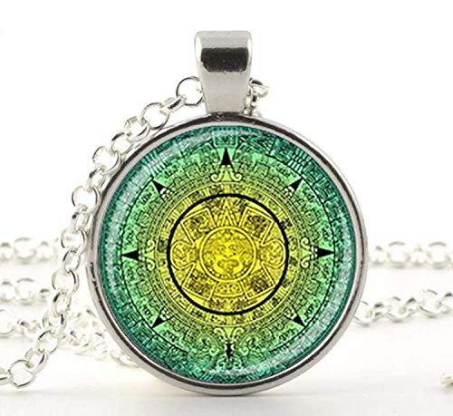 Collar con colgante de calendario maya azteca, calendario maya, joyería azteca, joyería maya, regalo
