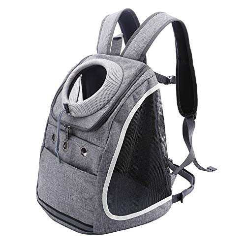 Filhome Dog Backpack Carriers for Small Dogs & Cats, Pet Puppy Travel Front Carrier Bag with Breathable Head Out Design for Travel Hiking Outdoor Use (Gray)