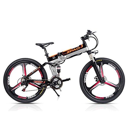 ZP26 Bicicletta elettrica Pieghevole 26', Motore 48V 350W, Mountain Bike 21 velocità, Bicicletta a pedalata assistita, Sospensione Completa (Rueda Integrada Negra, Plus 1 Batteria di Ricambio)