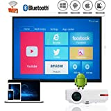 1080P Native Video Projector WiFi, Android Bluetooth Wireless Projector LED, 1G RAM + 8 G ROM, 4K Max Resolution, Support Airplay Miracast DLNA, for iPhone iPad Android Phone Tablets PC PS3/PS4 Xbox