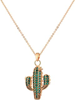 Collana con ciondolo cactus da donna, collana a catena lunga placcata in oro rosa e argento con zirconi