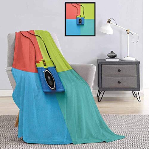 Toopeek Couverture de qualité spéciale style rétro style rétro sur toile de fond coloré Hipster Pop Urban Accessoires multi-usages pour canapés, etc. Multicolore 60 x 70 cm