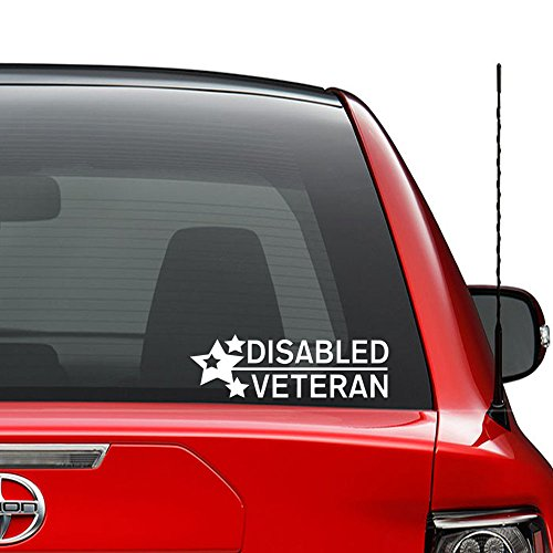Disabled Veteran Military Vinyl Decal Sticker Car Truck Vehicle Bumper Window Wall Decor Helmet Motorcycle and More - (Size 5 inch / 13 cm Wide) / (Color Gloss White)