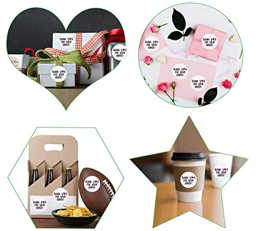500 Pieces Thank You Label, Thank You for Your Order Stickers Round Circle Label Stickers Thank You Decorative Stickers for Envelope Bag Seals Party Supplies (White Heart Labels) Photo #6