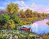 Kbfilj Lienzo con Pintura por Números Lago Y Barco DIY Oil Painting,Paint by Number Kit 40x50cm
