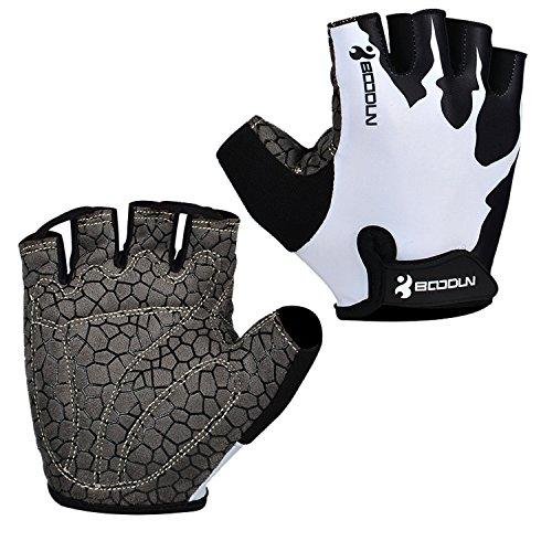 Eroilor Radsport Kurz Handschuhe Halb Finger Bike MTB Gloves Sommer Radhandschuhe für Damen/Herren - Weiss - L