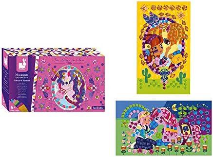 Janod Crafts No Mess No Glue Foam Unicorn and Pony Sticker Mosaic Kit Creative Imaginative Inventive product image