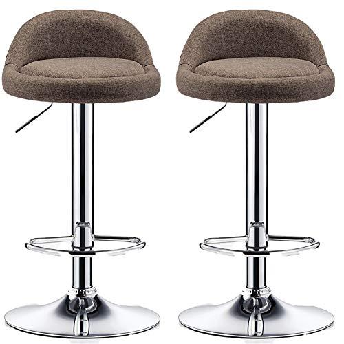 Taburetes de bar Juego de 2 sillas de bar ajustables en altura 58-78 cm en 360 ° Taburete giratorio de cocina for barra de desayuno Mostradores de cocina y hogar Taburetes de bar ( Color : Marrón )
