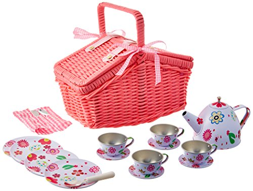 Delton Products Children#039s Tin Tea Set with Pink Daisies