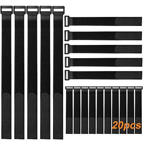 FULARR 20Pcs Ataduras de Cable, Cable Correas Set, Reutilizables Cable Ties, Gancho Bucle Correas, Cable Organizador, 3 Tamaños Diferentes (20x2cm, 30x2cm, 40x2cm) –– Negro