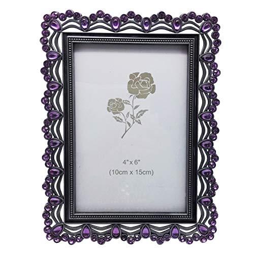 Amosfun Marco de fotos de metal púrpura con diamantes de imitación para aniversario de boda