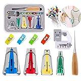 Kit de cinta de bies, 6 mm/12 mm/18 mm/25 mm, 4 tamaños, set de cinta de tela genérica con clips de costura, alfileres y prensatelas y punzón para coser para manualidades