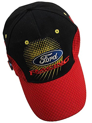 Ford Racing omse Rojo y Negro Rally Cruz Mesh Patrón Peak Flex Fit Cap