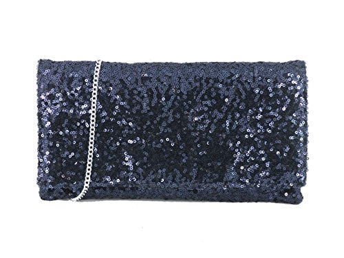 Loni glitzernden Pailletten Party Abend Clutch Umhängetasche Navy