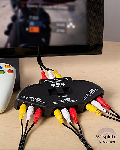 Fosmon A1602 RCA Splitter with 3-Way Audio, Video RCA Switch Box + RCA Cable for Connecting 3 RCA Output Devices to Your TV