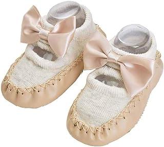 BIGBOBA, Calcetines de Bebé Invierno Suaves Algodón Zapatos con Arco Suela de PU Antideslizante Casa Calcetines de Piso Para Recien Nacido Niños Niñas