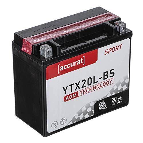 Accurat Motorradbatterie YTX20L-BS 20Ah 290A 12V AGM Starterbatterie in Erstausrüsterqualität leistungsstark robust vibrationsresistent wartungsfrei