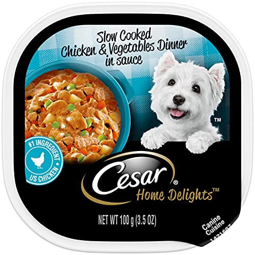 CESAR HOME DELIGHTS Soft Wet Dog Food Slow Cooked Chicken & Vegetables Dinner in Sauce, (24) 3.5 oz. Easy Peel Trays