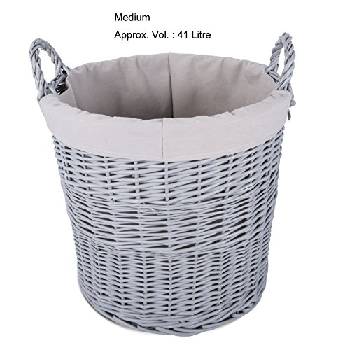 Home Storage Grey Painted Round Wicker Basket Laundry Toys Baby Nursery Collection Box (Medium)