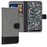 kwmobile Hülle kompatibel mit HTC Desire 19+ / 19s - Kunstleder Wallet Hülle mit Kartenfächern Stand in Grau Schwarz