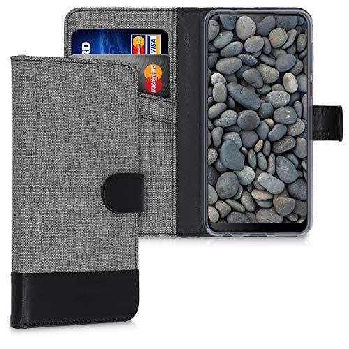 kwmobile Wallet Hülle kompatibel mit HTC Desire 19+ / 19s - Hülle Kunstleder mit Kartenfächern Stand in Grau Schwarz