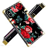 iPhone Xs Max Case Luxury Red Flower Square Soft TPU Wrapped Edges and Hard PC Back Stylish Classic Retro Case 6.5 inch
