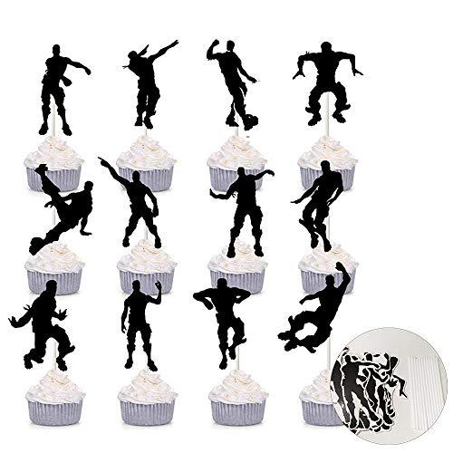SUNFUA 24 Stück Cake Kuchen Topper für Geburtstagsfeier Dekoration Street Dance Junge Form Kuchendekoration(Schwarz)