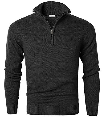 MOCOTONO Men's Long Sleeve Quarter Zip Sweater Knit Turtleneck Pullover Black Medium