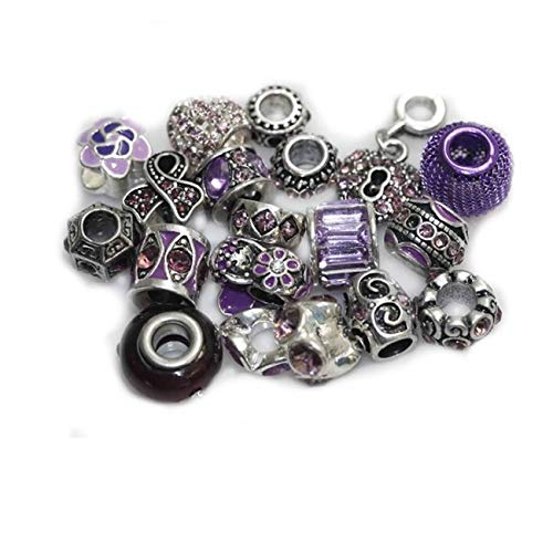 Sexy Sparkles Ten (10) of Assorted Shades of Rhinestone Beads Charms Spacers for Bracelets (Purple Amethyst)