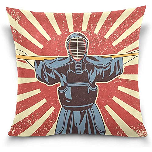 Funda de almohada de terciopelo japonés Kendo Sword Martial Arts Fighters, 18X18 en funda de almohada para decoración del hogar