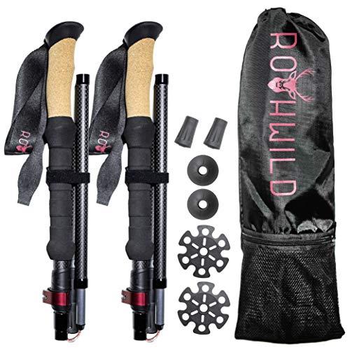 Rothwild Wanderstöcke, Faltbare Carbon-Trekkingstöcke mit Kork-Griff, für Damen und Herren, Länge 105-125cm