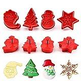 KeepingcooX Tagliapasta con set estrattore - Albero di Natale, Babbo Natale, pupazzo di neve, fiocco di neve | Set di taglierine a stantuffo con espulsore, stampo da forno per biscotti