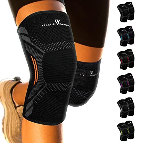 KINETIC EVOLUTION Kniebandage für Damen und Männer, 2 Stück Knieschoner, rutschfest, Atmungsaktiv Knieschützer, Sportbandage für Volleyball Basketball Fußball Laufen Wandern (L, Orange)